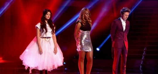 Frances Wood, Joelle Moses and Tyler James await their fate on The Voice UK
