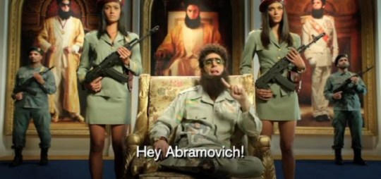 Chelsea, Sacha Baron Cohen's comedy creation, The Dictator.