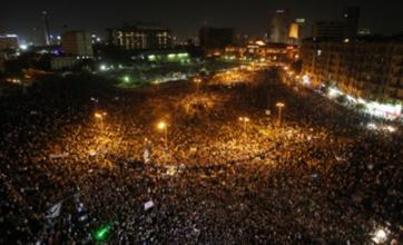 Egyptians protest in Tahrir Square after Hosni Mubarak verdict