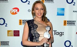 Kylie Minogue received a 25th Anniversary Silver Clef Award (PA)