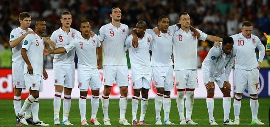 Steven Gerrard of England consoles Ashley Cole after missing his penalty during the UEFA EURO 2012