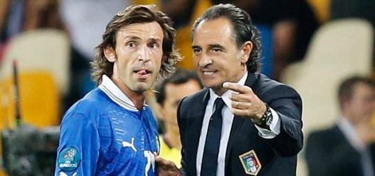Italy's head coach Cesare Prandelli talks to midfielder Andrea Pirlo