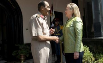 Hillary Clinton meets Egypt's military leader Field Marshal Tantawi