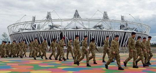 Olympic Stadium, troops