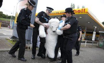 Greenpeace activist dressed as polar bear arrested at petrol station protest