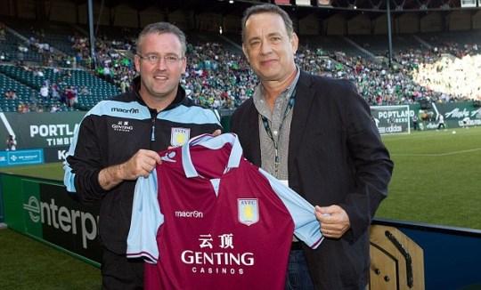 Tom Hanks meets Paul Lambert manager of Aston Villa