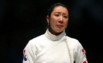 Shin Lam performs sit-in protest after fencing controversy at London 2012
