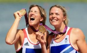 Katherine Grainger (left) will meet David Beckham after rowing her way to a gold medal with partner Anna Watkins (Pic: PA)