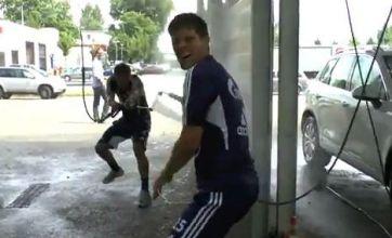 Klaas-Jan Huntelaar loses Euro 2012 bet and is forced to wash friend's car