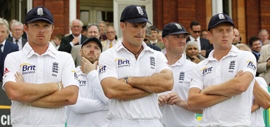 England's Ian Bell, Matt Prior, captain Andrew Strauss, Graeme Swann and Jonny Bairstow