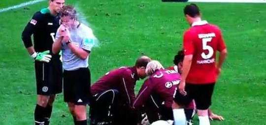 German referee water squirt