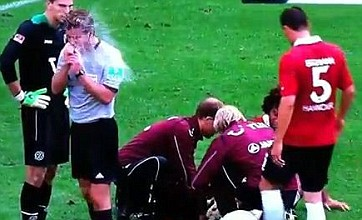 German referee sees water bottle explode in his face