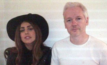 Lady Gaga morphs into a witch as she pays Julian Assange a visit