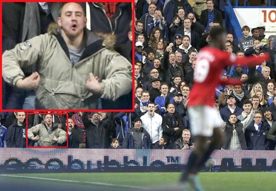 Chelsea fan 'monkey' gesture Danny Welbeck Manchester United