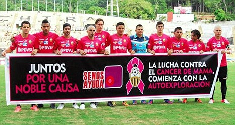 Deportivo Tachira pink shirts team line up