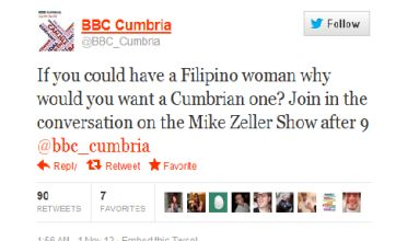 BBC Cumbria causes Twitter storm with 'racist, sexist' Filipino comment