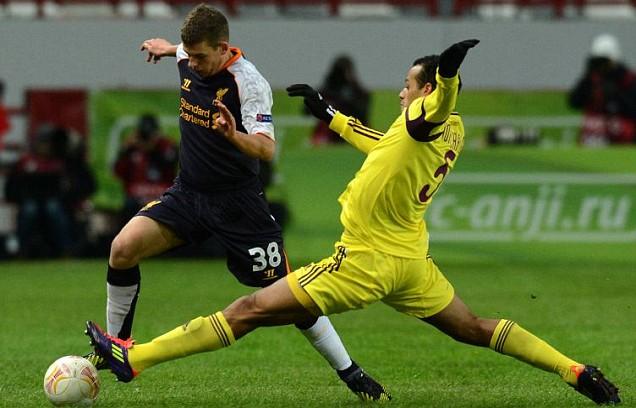 Adam Morgan, Liverpool against Anzhi Makhachkala