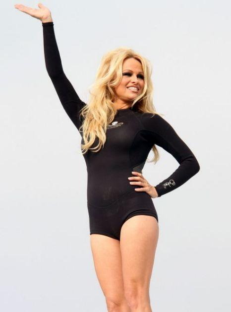 Pamela Anderson at a press event in LA