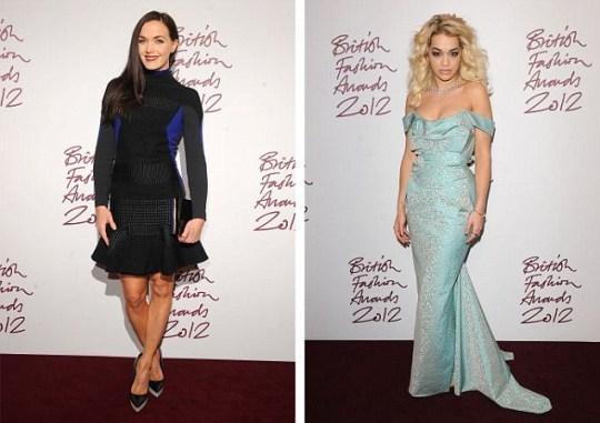 Rita Ora, victoria pendleton, british fashion awards 2012