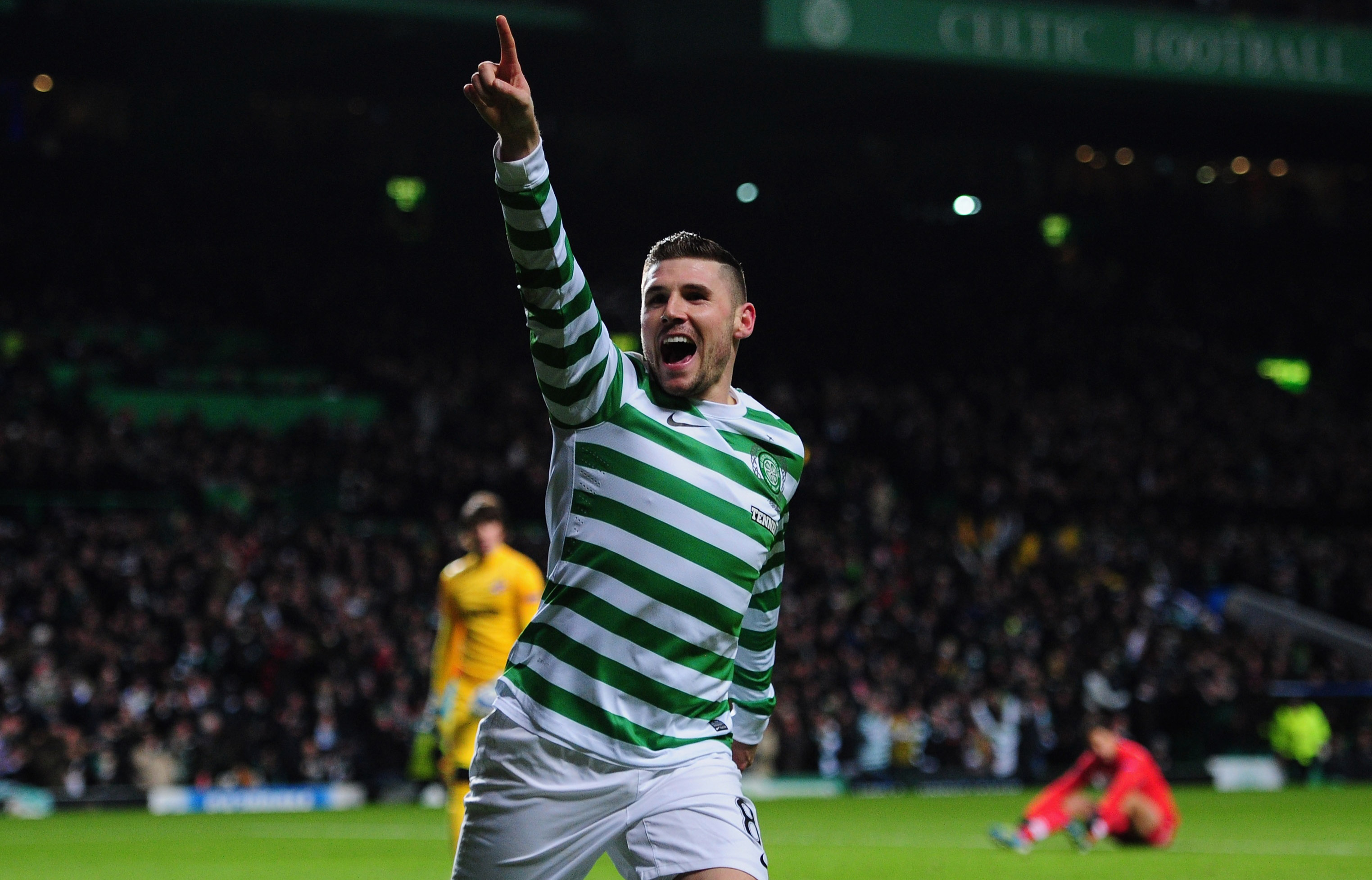 Super Hooper: Gary Hooper fires hope Celtic's opener with a delicious finish (Picture: Getty)