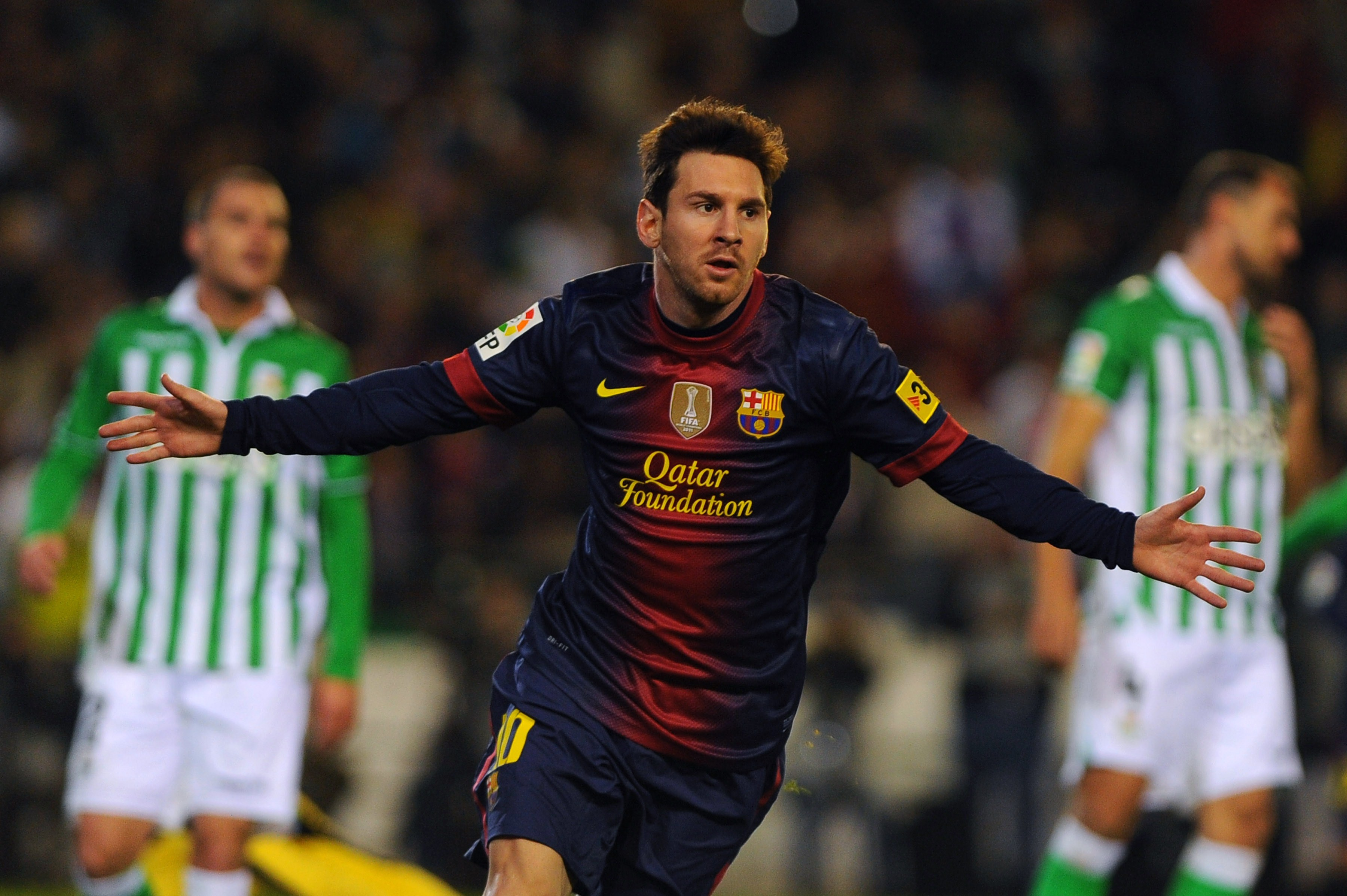 Lionel Messi has scored 86 goals for club and country so far in 2012 (Picture: AFP)