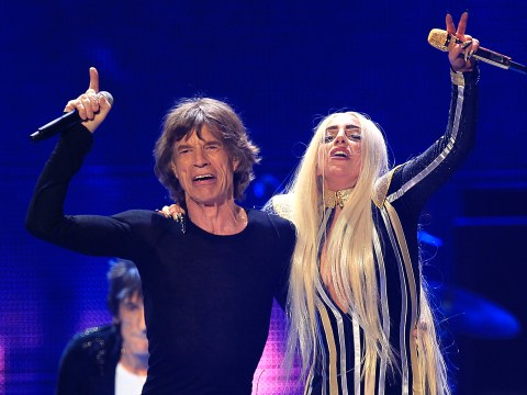 Lady Gaga performs live with the Rolling Stones