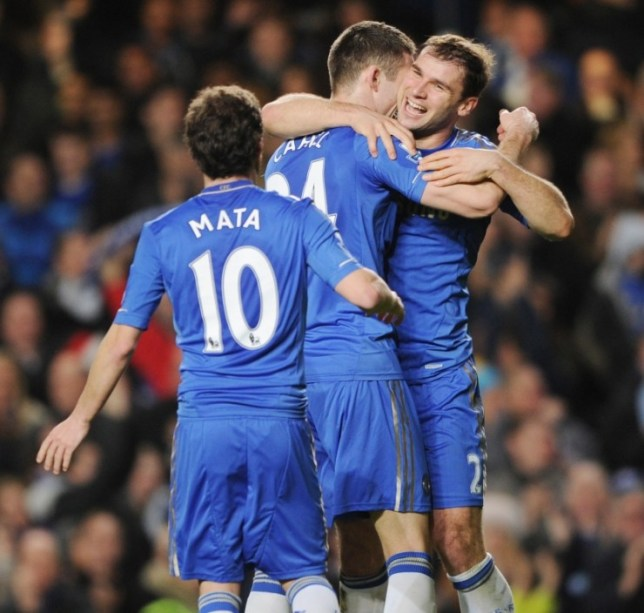 Branislav Ivanovic (R) celebrates with Gary Cahill (C) and Juan Mata after scoring the third goal for Chelsea (Picture: Action Images)