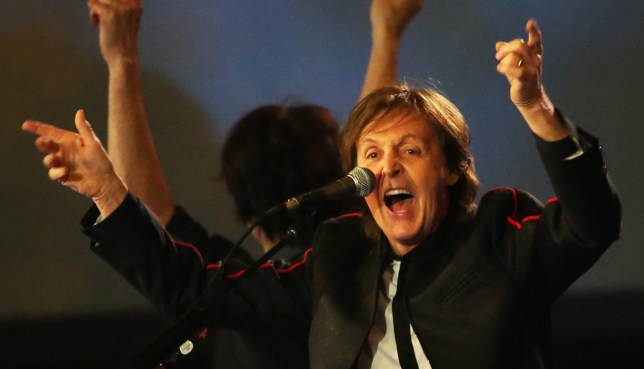 Paul McCartney, British musician and singer performs during the Opening Ceremony of the London 2012 Olympic Games