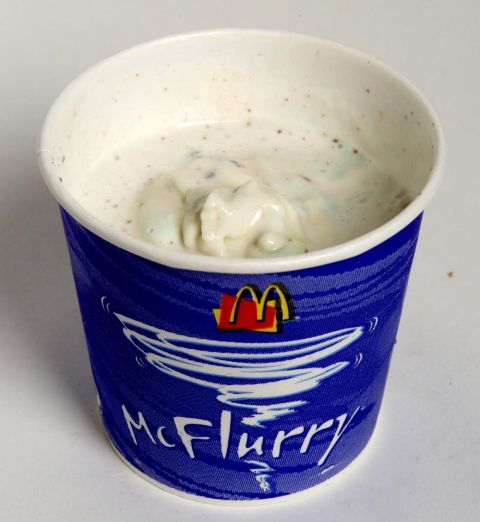 Picture shows: a McDonald's smarties McFlurry ice cream.