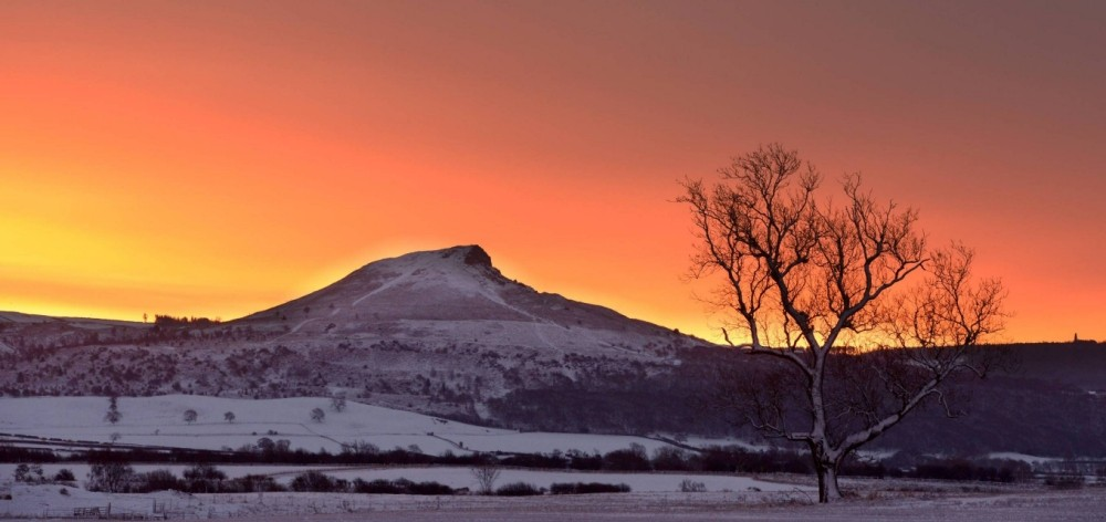Whiteout:  A blanket of snow covers the landscape as the sun rises over Roseberry Topping in North Yorkshire (picture:  North News)