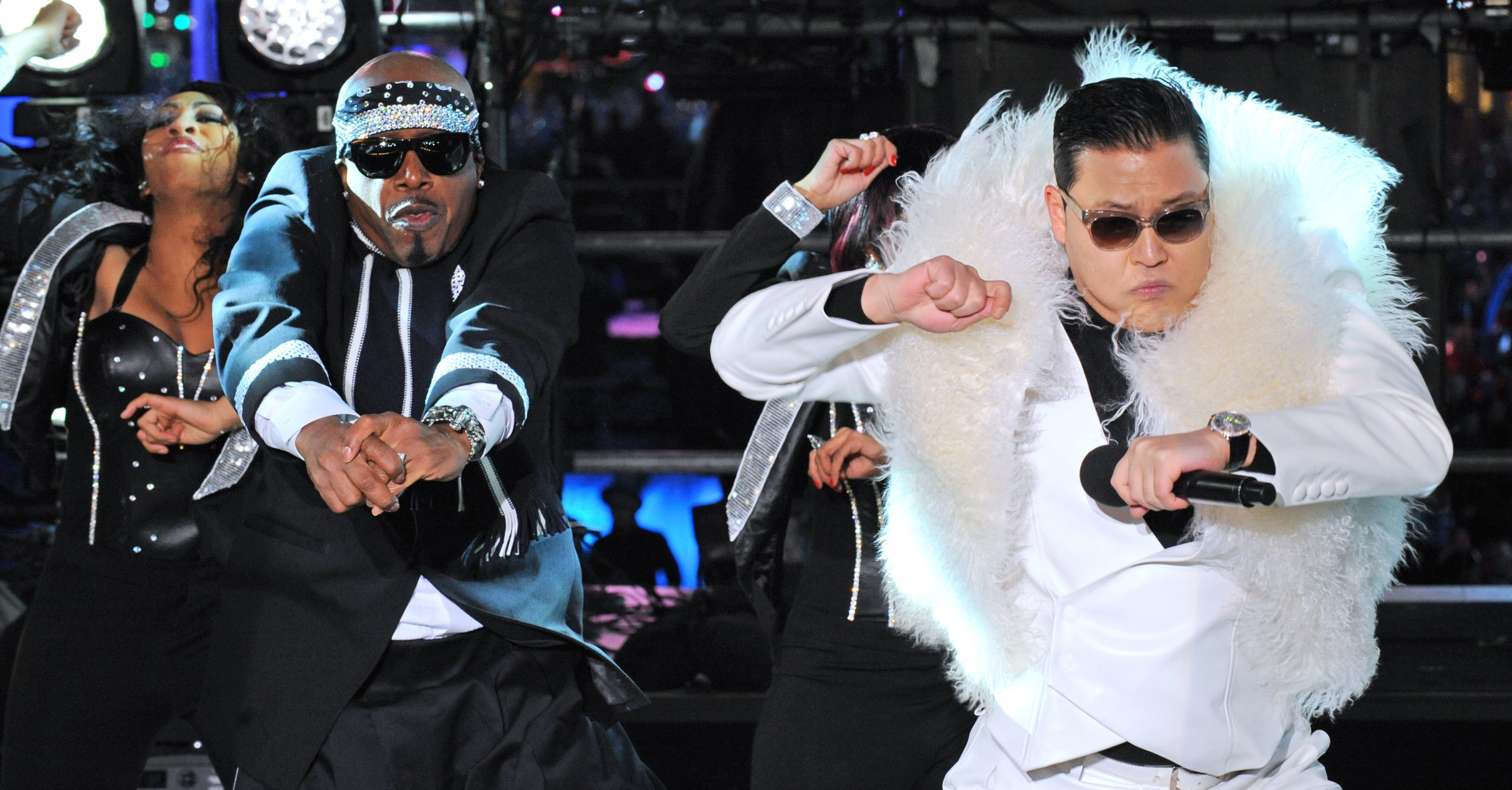 Psy and MC Hammer in Times Square New Year's Eve