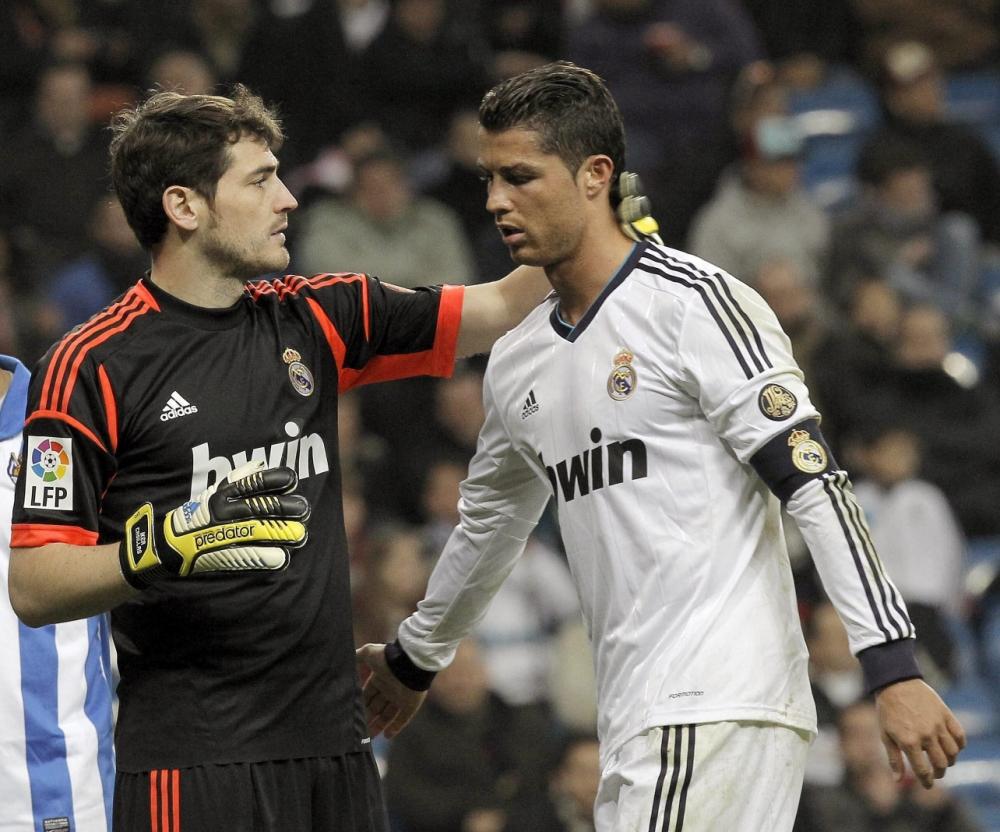 Real Madrid's Portuguese striker Cristiano Ronaldo and Iker Casillas