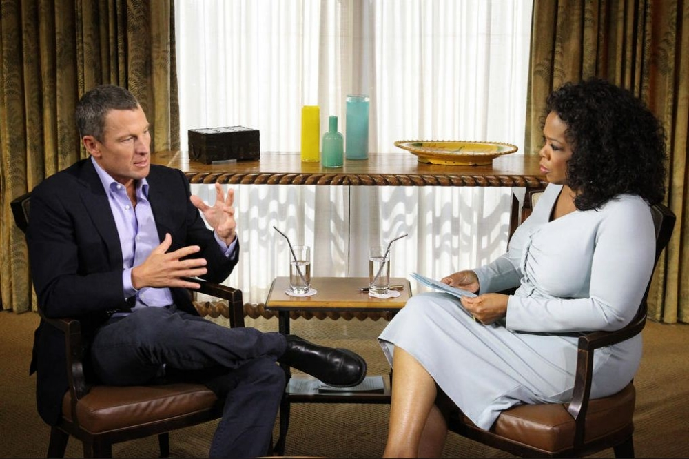 Lance Armstrong and Oprah Winfrey during Monday's recording (Picture: OWNTV)