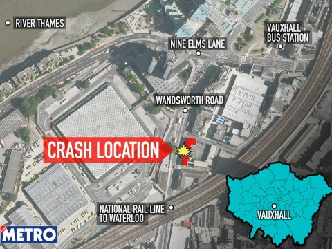 Where was the London helicopter crash? Map of the crash scene in Vauxhall