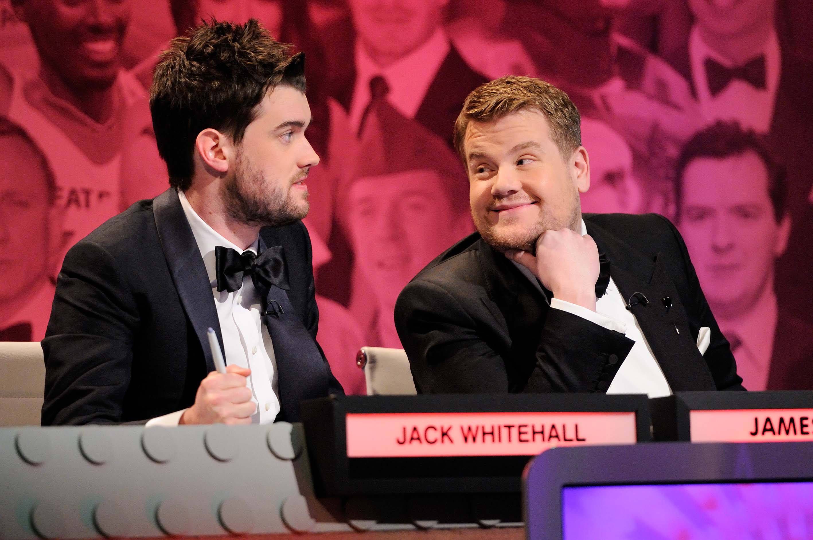 Jack Whitehall and James Corden attracted controversy on Big Fat Quiz Of The Year (Picture: Channel 4)