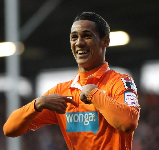 Thomas Ince of Blackpool celebrates scoring the opening goal du