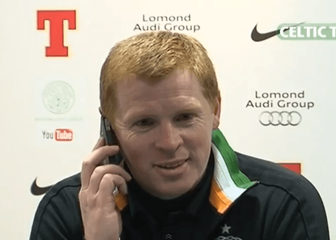 Neil Lennon leaves journalist red-faced after answering phone call from his wife