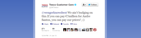 Tesco trolls Arsenal over Andre Santos deal with transfer deadline day tweet