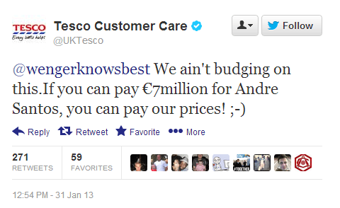 Tesco trolls Arsenal over Andre Santos deal with transfer deadline day tweet
