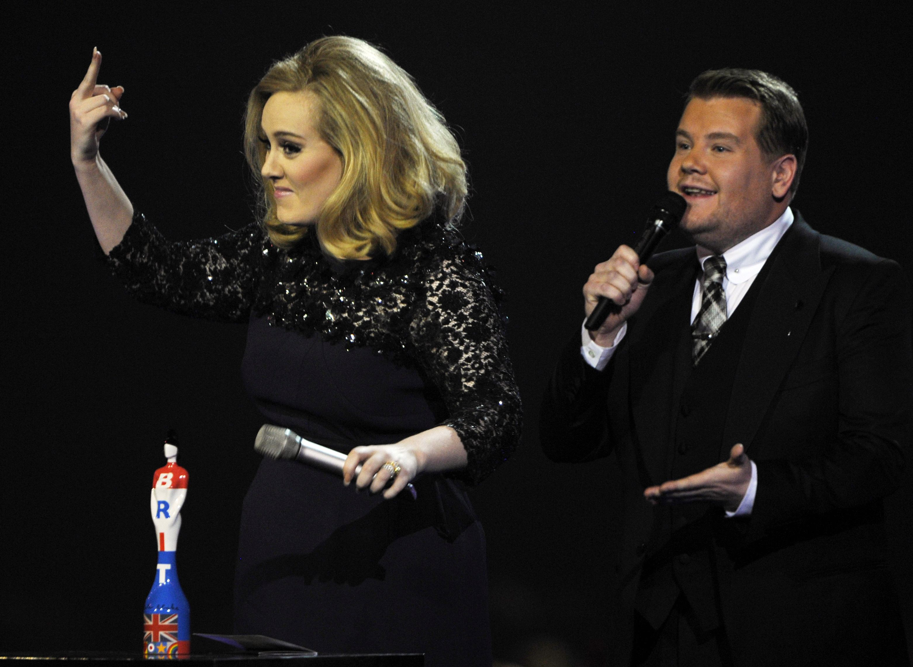 Adele makes her feelings clear after James Corden cuts short her speech (Picture: Reuters)