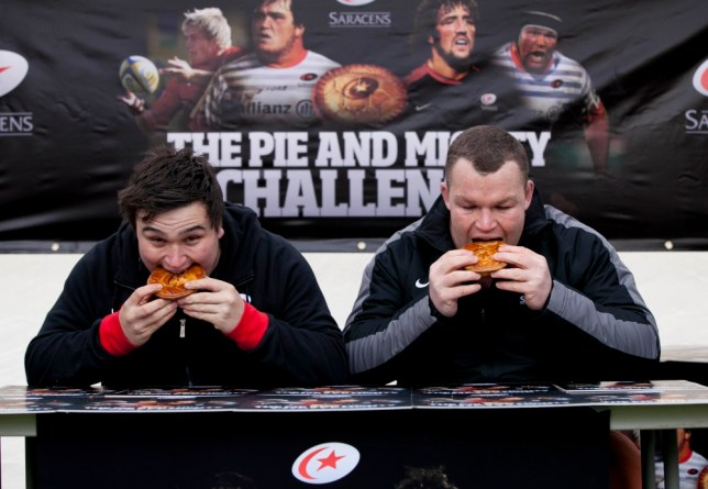 Rugby's nice pies: George, left, and Stevens get stuck in Picture: PA