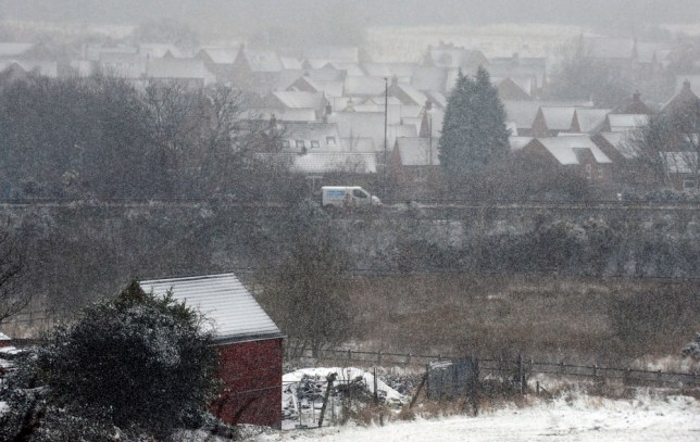 General view of snow at Church Gresley, Derbyshire