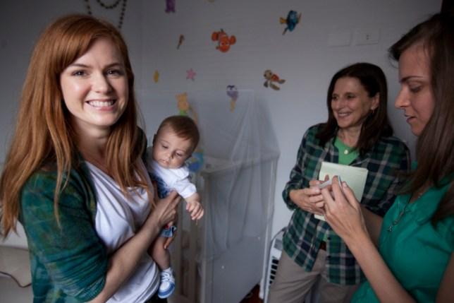 Isla Fisher visits a breast milk bank in Sao Paulo