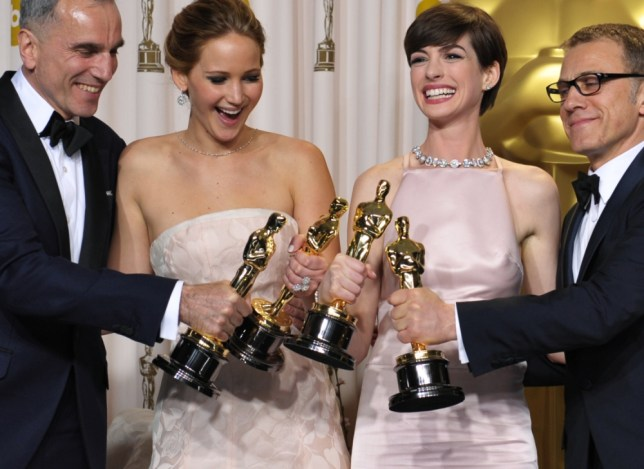 Jennifer Lawrence and Anne Hathaway Oscars dresses
