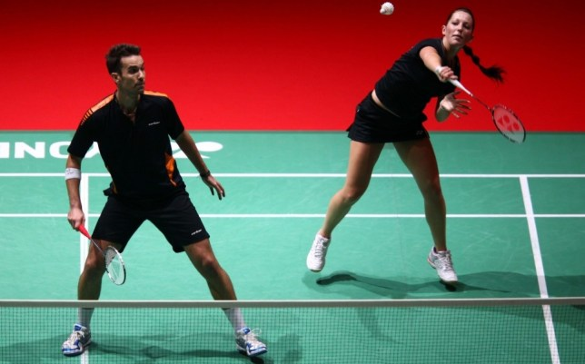 Gone: Wallwork, pictured with partner Nathan Robertson, has quit Badminton England (Picture: Getty Images)