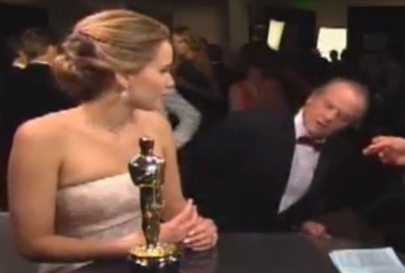 Jennifer Lawrence left red-faced again as Jack Nicholson flirts with her during Oscars interview