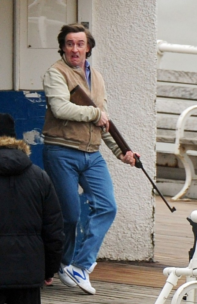 Steve Coogan shoots a scene from Alan Partridge: The Movie on Cromer Pier (Picture: Rex)