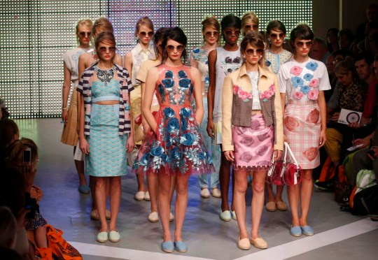 Models present designs from Holly Fulton's Spring/Summer 2013 show at London Fashion Week