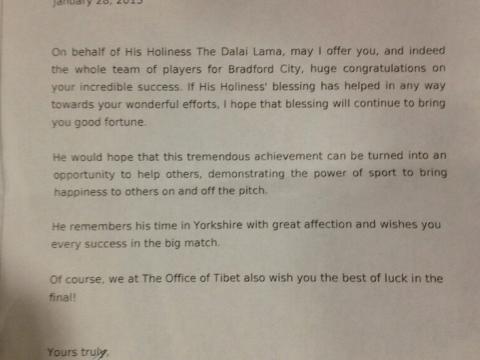 Dalai Lama sends Bradford City 'good luck' letter ahead of Capital One Cup final