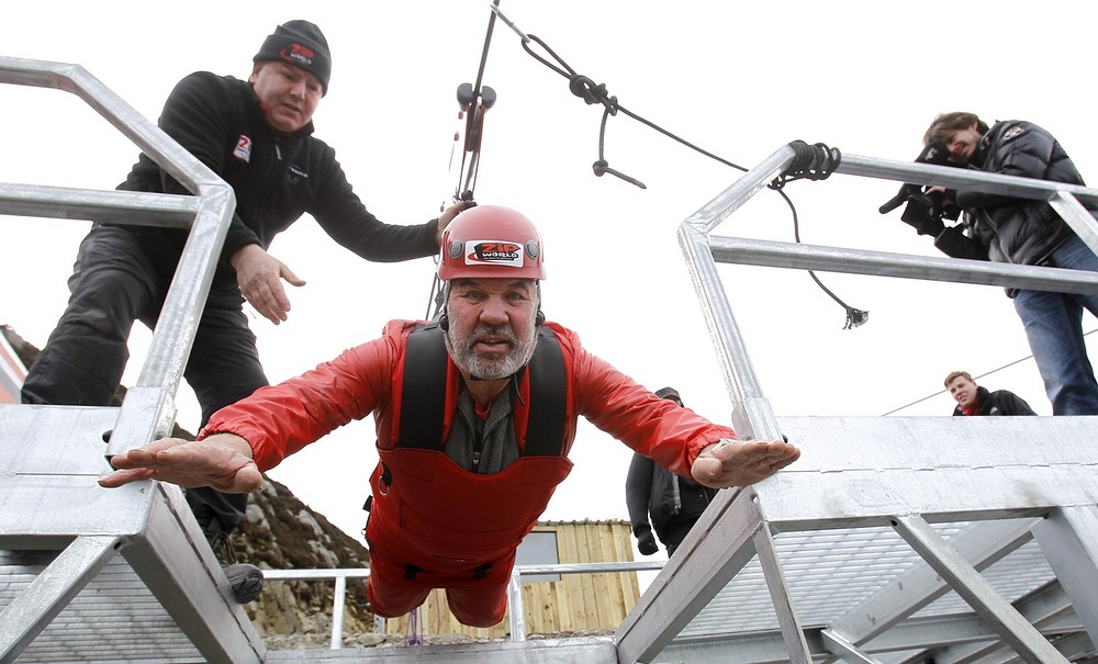Longest zip wire in northern hemisphere unveiled in Wales – and grandfather is first to try it